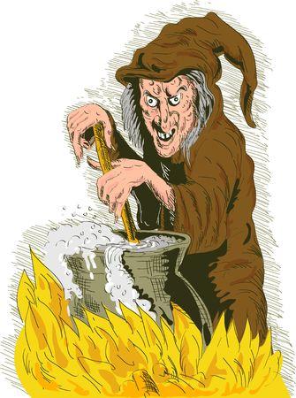 stirring: Witch stirring cooking brew pot