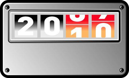 turns of the year: ilustraci�n en el nuevo a�o 2010 que se muestra como un contador de vuelta  Foto de archivo