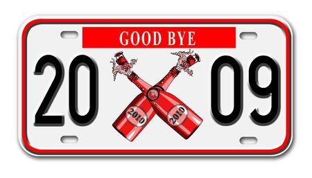 goodbye: car license plate with goodbye year 2009 on it