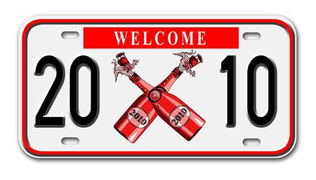 license plate: car license plate with new year 2010 on it