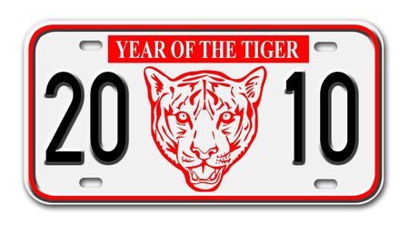 license plate: car license plate with new year 2010 year of the tiger