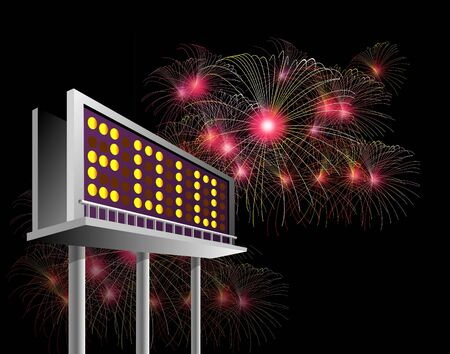 billboard  advertising new year 2010 with fireworks exploding in the background photo