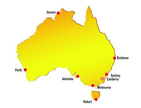 map of australia with major cities Stock Photo - 6195772
