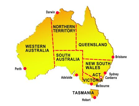 tasmania: map of australia  showing eight states and major cities isolated on white