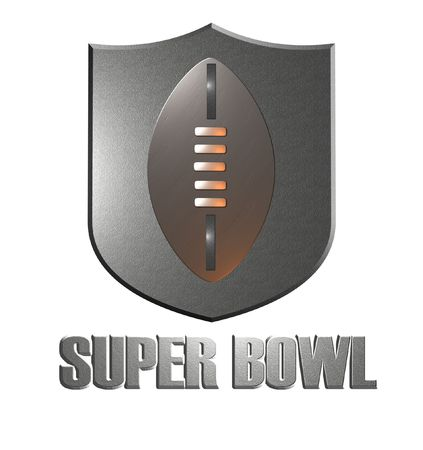super bowl: illustration of american super bowl with shield and ball