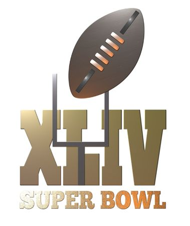 super bowl: illustration of the 44th american rugby football  super bowl 2010 with ball and goal post