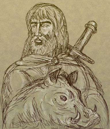 Frey Norse god of agriculture with sword and boar photo