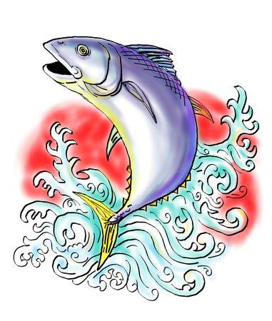 atun rojo: Esbozo de la ilustraci�n de un at�n de aleta azul saltando con ondas