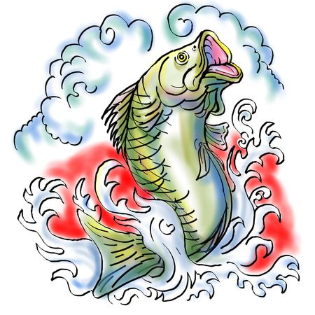 illustration of a largemouth bass jumping with waves illustration