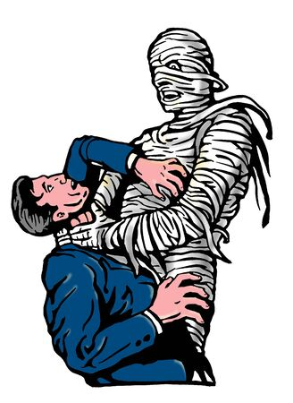 choking: illustration of a mummy strangling a man Stock Photo