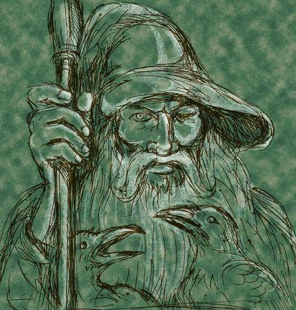 odin: Norse God Odin holding spear with ravens