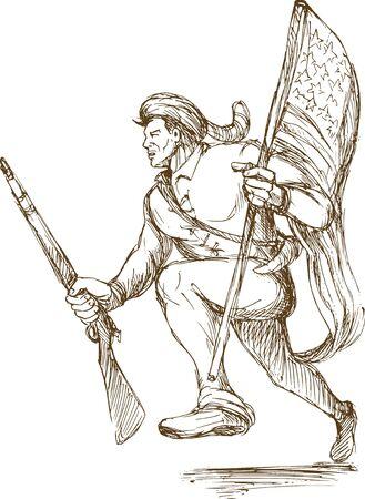 american revolution: daniel boone american revolutionary carrying flag o Stock Photo