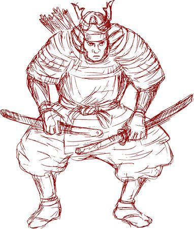 stance: samurai warrior with sword in fighting stance