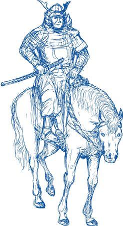 Samurai warrior riding horse with sword photo