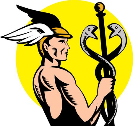 greek god: illustration of Roman Greek God Hermes or mercury holding a caduceus