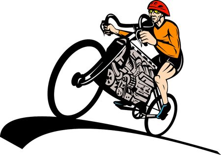 illustration of a Cyclist riding racing bicycle with v8 car engine illustration