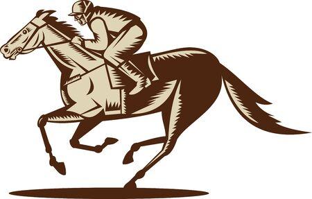 cavallo in corsa: illustrazione di un cavallo e fantino corse visto di lato isolato on white background