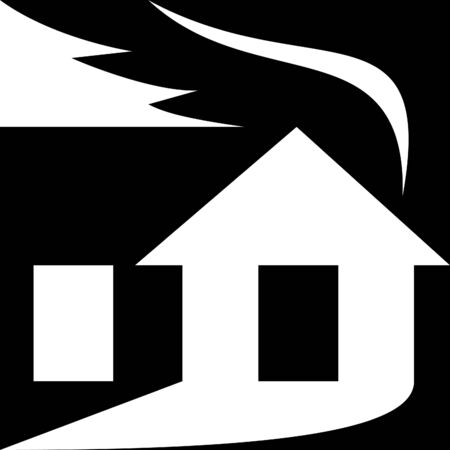 illustration of a silhouette of a house with smoke coming out shaped as leaf denoting it being green or eco-friendly. illustration