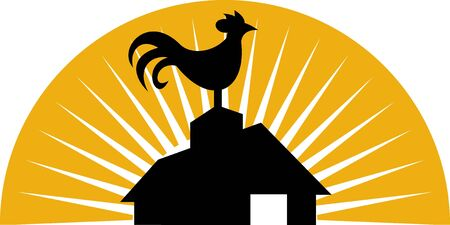 crowing: illustration of a Rooster crowing on top of farm house or barn