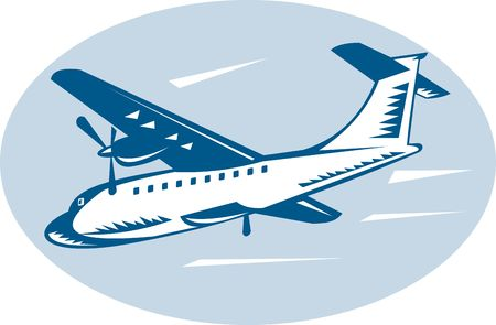 illustration of a propeller airplane woodcut style Stock Illustration - 6233966