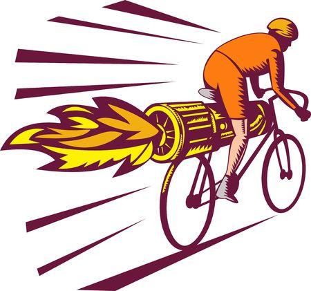 illustratie van een fietser op fiets geïsoleerd op witte houtsnede stijl met jet motor racing