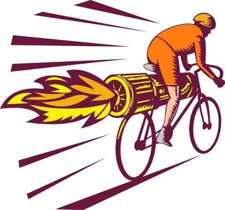 illustration of a Cyclist racing with jet engine on bicycle isolated on white woodcut style illustration