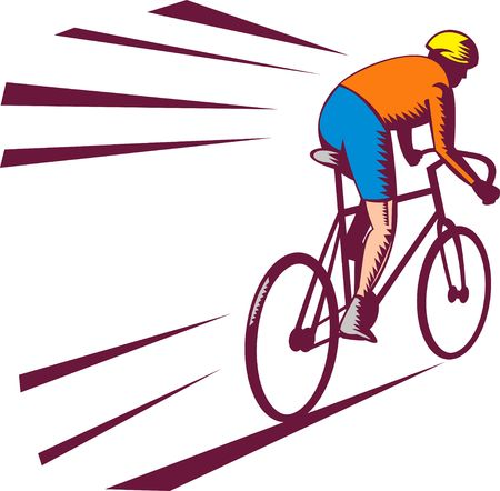 man rear view: illustration of a Cyclist racing on bicycle viewed from rear done in woodcut style.