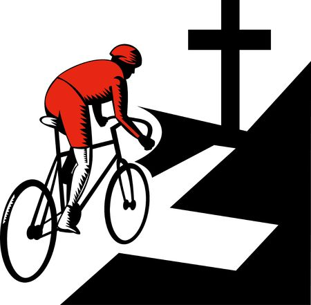 illustration of a Cyclist racing on bicycle with cross on road illustration