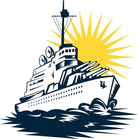 battleship: illustration of a battleship with big guns Stock Photo
