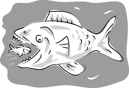 cartoon illustration of a small fish swimming happily inside the mouth of big fish illustration