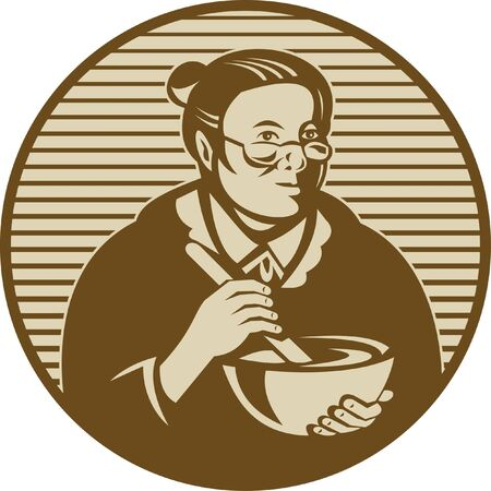 stirring: illustration of an old woman or granny cooking ixing bowl Stock Photo