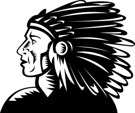 illustration of a native american indian chief with headdress illustration