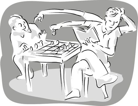 jolt: cartoon illustration of a man with 4 arms playing chess with a man with two arms. He has one arm holding a book  one arm moving the queen  and with another arm  tickling the other mans back.