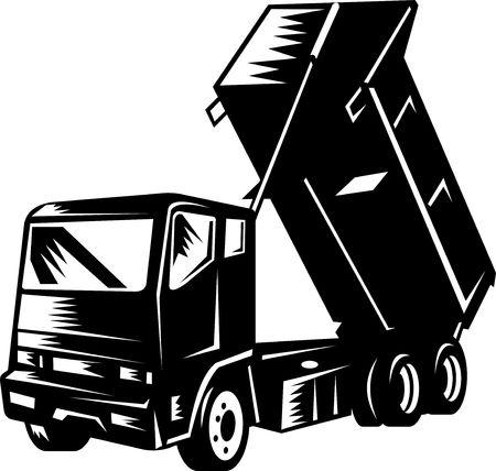 camion volteo: Ilustraci�n de un cami�n volquete aislado en blanco  Foto de archivo