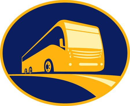 symbol tourism: icon for a tourist coach bus traveling on road viewed from a low angle. Done in three (3) colors and enclosed in an ellipse.