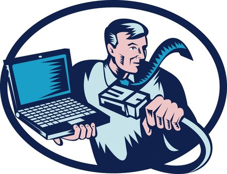 computer cable: computer guy holding a network cable and laptop.