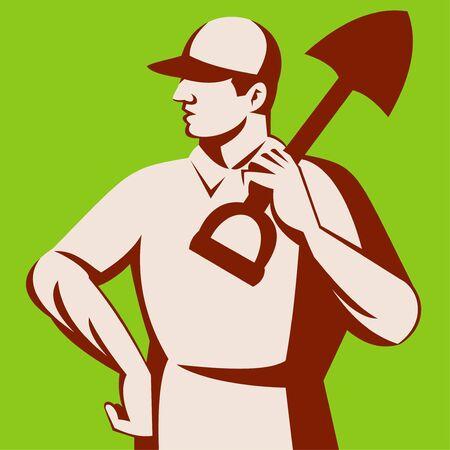illustration of a landscape gardener with shovel illustration