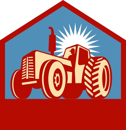 tractor sign: retro styled tractor silhouette viewed form a low angle