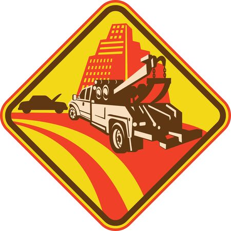 vehicle breakdown: tow truck with car breakdown buildings in background