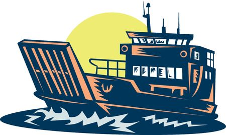 Barge or ferry boat at sea done in woodcut style.