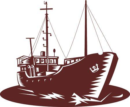 trader: Coastal trader boat don ein woodcut style Stock Photo