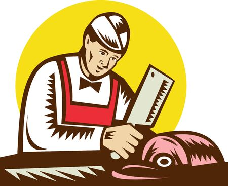 the cleaver: butcher chopping meat done in woodcut style. Stock Photo