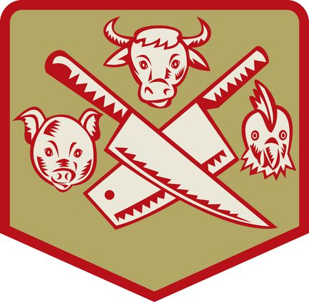 the cleaver: Cow,pig and chicken with crossed butcher knife set inside a shield