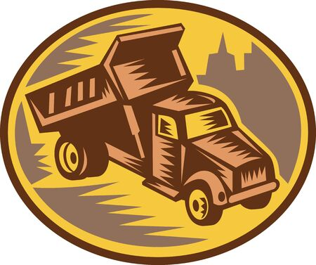 dump truck done in retro woodcut style. photo