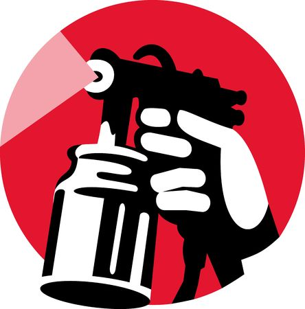 spraying: Illustration of a Spray gun with hand holding Stock Photo