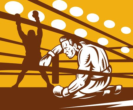 illustration of a Boxer down on his hunches after a knockout illustration