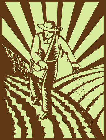siembra: illutration de un agricultor siembra semillas con estaba hecho con estilo retro xilograf�a  Foto de archivo