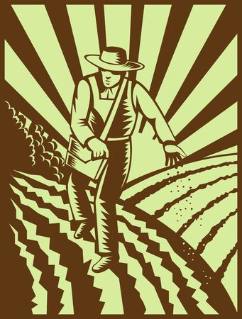 furrow: illutration of a Farmer sowing seeds with sunburst done in retro woodcut style