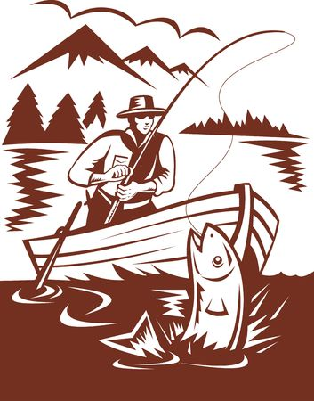 salmon leaping: illustration of a Fly fisherman catching trout on boat Stock Photo