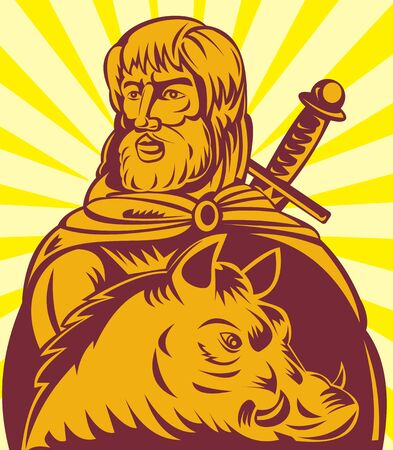 germanic: Frey the  Norse god of agriculture with sword and boar